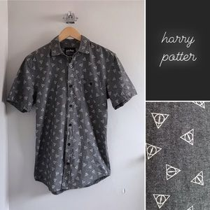 Harry Potter Gray Button Down Short Sleeve Shirt S